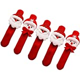 Park Party Santa & Snow Man Wrist Band Santa Claus Christmas Party Favors Red(Pack Of 5)