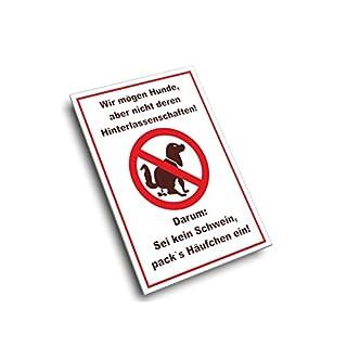 Hundekot Schild - Sei kein Schwein incl. Schaumstoffklebepunkten zur Befestigung geliefert! (DIN A4 21 x 29,7 cm)