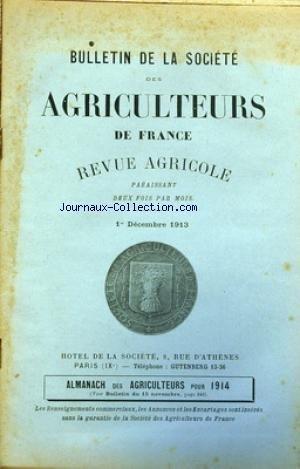 BULLETIN DE LA SOCIETE DES AGRICULTEURS DE FRANCE du 01/12/1913