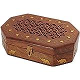 Store Indya, Intagliato mano Bigiotteria in legno Storage Box Organizzatore con Elephant Motif Intarsi in Ottone
