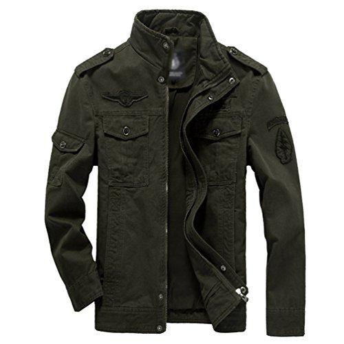 Yuandian uomo autunno e inverno casual militare stile cargo giacca taglia grossa collare del basamento multi tasca ricamo distintivo cappotto giubbotti esercito verde 4xl