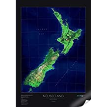 Satellitenbildkarte Neuseeland, Planokarte