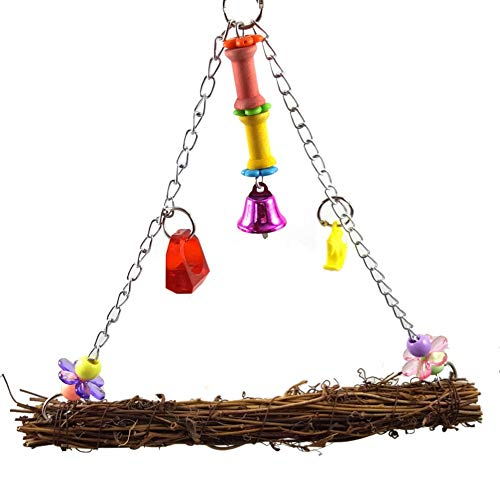 WAINEO PARpe Standing Swing ith Bite Toys Novelty Birdcage Stands Hanging Design,Parrot