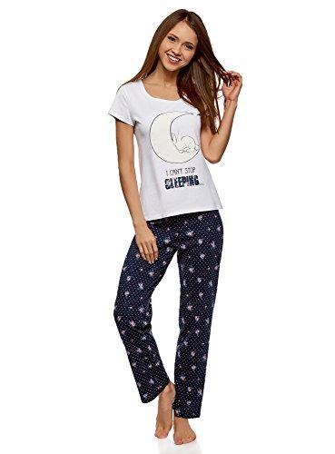 oodji Ultra Damen Baumwoll-Schlafanzug mit Pyjama-Hose, Blau, DE 38 / EU 40 / M (Kleine Pyjama-hose)