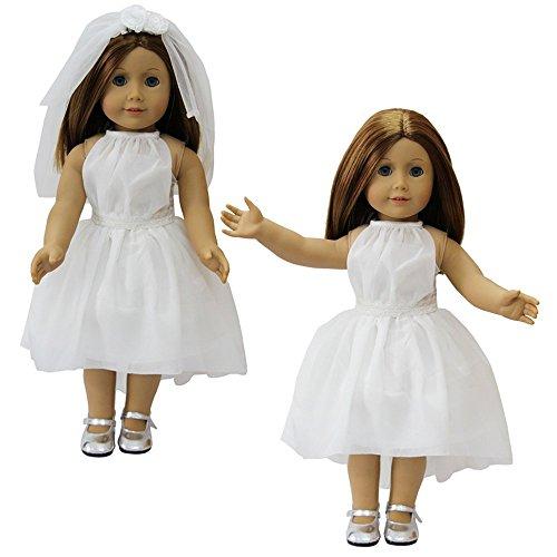 ZITA ELEMENT Puppenkleidung -Prinzessin Weißes Hochzeitskleid + Veil Passt für 18 zoll American Girl 45-46 cm Puppen Christmas GESCHENK (Zoll Kleid Puppen Für Hochzeit 18)