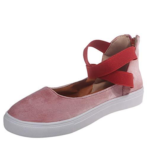 Xuthuly Frauen-einfache Querband-Bequeme Flache Job-einzelne Schuh-Damen-Reine Farben-runde Zehen-Reißverschluss-Freizeitschuhe