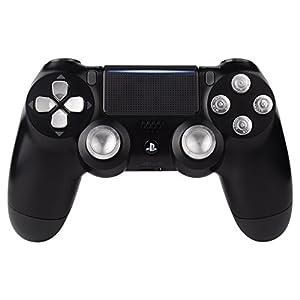 eXtremeRate PS4 Button Thumbsticks D-Pad Steuerkreuz aus Aluminium für Playstation 4 PS4 DS4 Controller,Bundle Munition Thumbsticks Bullets Tasten Kappen Zubehör(Silber)