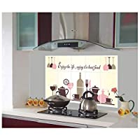 FUZILV Wall StickerEnvironmentally Friendly Easy To Remove Kitchen Decoration Tiling Oil-Proof Stickers Aluminum Foil Oil Stickers Red Wine Cup Pattern 45X70Cm