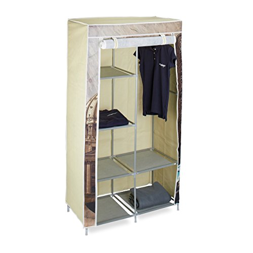 Relaxdays Faltschrank Kapitol HBT: ca. 161 x 83,5 x 42,5cm Kleiderschrank aus Stoff mit 6 Ablagen und Kleiderstange Stoffschrank als Garderobenschrank und Campingschrank nutzbar Wäscheschrank, Capitol