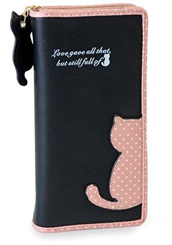 FashionCHIMP Geldbörse im trendigen Katzen-Design mit umlaufendem Reißverschluss und Katzen-Anhänger, Geldbeutel für Damen (Schwarz/Rosa)