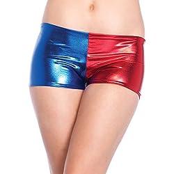 Pantalón corto para mujer, rojo y azul metálico brillante
