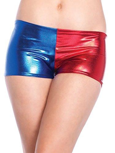 Quinn Harley Top Kostüm - SCHWACHER ANSTIEG CHEEKY Metallic-Rot und Blau Cosplay Beute Kurze Hose