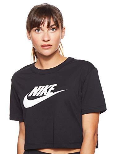 Nike Damen W NSW Tee ESSNTL CRP ICN FTR T-Shirt, Black/(White), S