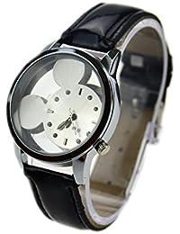 Reloj de pulsera, cuarzo, diseño de Mickey Mouse, correa de piel, con diamantes (Negro)