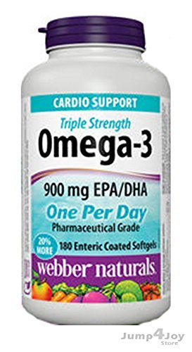 Webber Naturals® Triple Strength Omega-3 Enteric Coated 900 mg 180softgels (one per day)