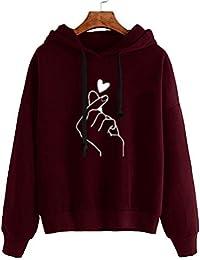 53dcae728f305 Sweatshirt Femme Imprimé, LMMVP Femmes Automne Occasionnelles Patchwork  Manche Longue Sweat à Capuche Pullover Sweat