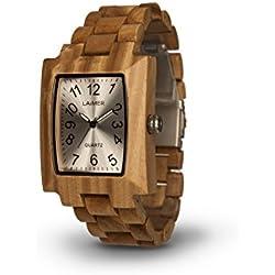 LAiMER Holzuhr Modell 0015 | 100% Sandelholz | Naturprodukt | Südtirol |federleicht | allergikerfreundlich | nachhaltig | angenehmer Tragekomfort |