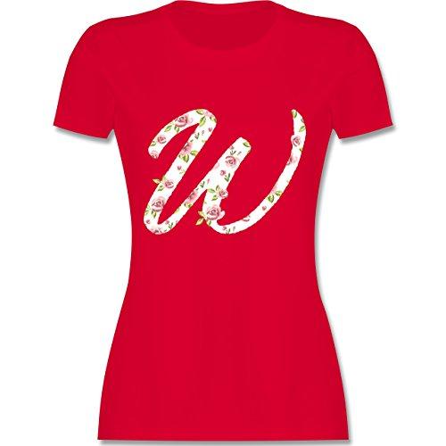Anfangsbuchstaben - W Rosen - tailliertes Premium T-Shirt mit Rundhalsausschnitt für Damen Rot
