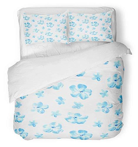Soefipok 3 Stück Bettbezug-Set atmungsaktiv gebürstetem Mikrofaser-Stoff abstrakt floral mit blauen Blumen Aquarell weiß Bloom Blossom botanische Bettwäsche Set mit 2 Kissenbezüge Twin Size (Blossom Floral Bettwäsche-set)