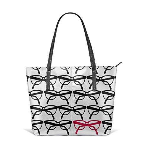 XGBags Custom Soft Leather Optometrist Eye Glasses Frames Pattern Print Leather Zipper Tote Ladies Shoulder Bag Shoulder Bag For Travel Shopping Tote Umhängetaschen