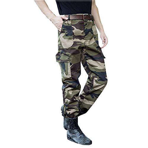 BOZEVON Pantaloni Mimetici - Uomo e Donna Allenamento Militare Formazione Pantaloni da Lavoro di Grandi Dimensioni Resistenti All'usura,Verde mimetico,Tag 170,Vita 67cm