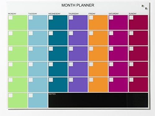 Naga 80X60cm Monthly Planner Magnetic Glass Memo Board