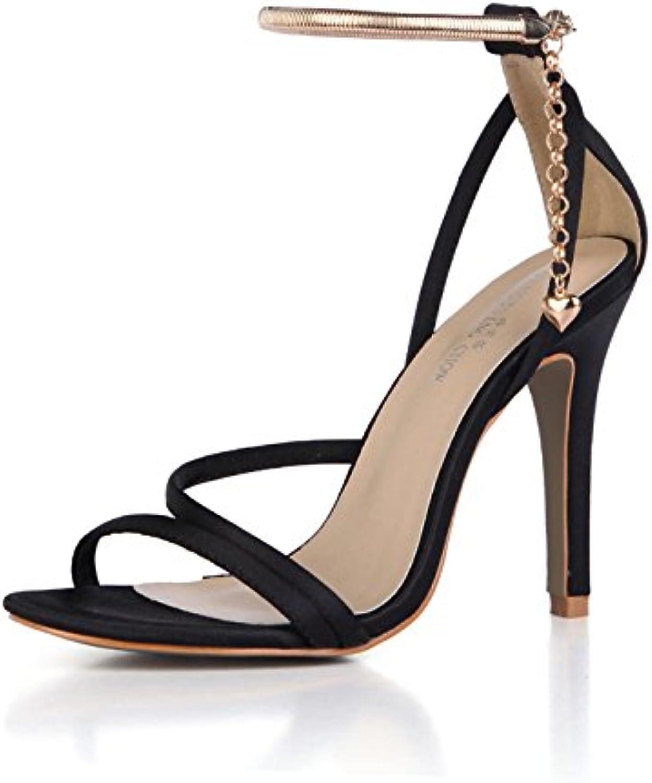 ZHZNVX Las Mujeres Sandalias de Verano Nuevo Damasco Temperamento Banquete de Bodas Zapatos de Mujer Tacones Altos... -