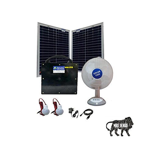 Solar Home Lighting System With Table Fan, 2 LED Bulbs, Power Box, 2 x 25W Panel Backup Time 8 to 12 Hours  available at amazon for Rs.11999