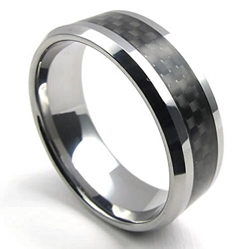 AnaZoz Wolframstahl Carbon Faser polnischen Carbide Schwarz Silber 8mm Herren Ring Größe 57 (18.1) (Cobalt Hochzeit Herren Ring)