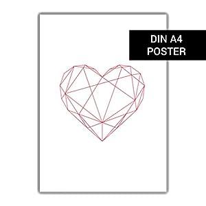 Herz Poster DIN A4, Dekoration Skandinavisch, Kinderzimmer Dekoration, Geschenk für Tochter oder Freundin