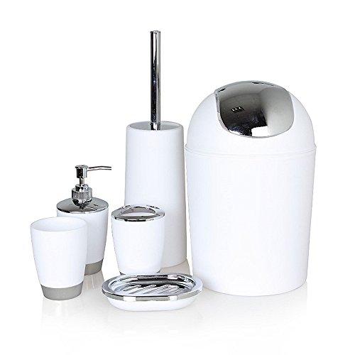 Badezimmer Zubehör Sets,IAMUQ 6-Teiliges Badezimmer Kunststoff Sets,Zahnbürstenhalter,Seifenspender,Seifenschale,Toilettenbürste,Mülleimer,Mundwasser Tassen für Badezimmer Geeignet - Weiße