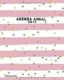 Agenda Anual 2019 Semana Vista: Agenda Semanal , Diseño rayas con lunares, rosa y blanco, Agenda Organizador, 52 Semanas Planificador y Calendario (Enero a Diciembre 2019)