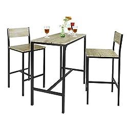 SoBuy OGT03, Bar Set--1 Bar Table and 2 Stools, Home Kitchen Restaurant Bar Set Furniture Dining Set