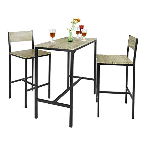 SoBuy OGT03 Ensemble table de bar + 2 chaises, Set de 1 Table + 2 Chaises, Table haute cuisine
