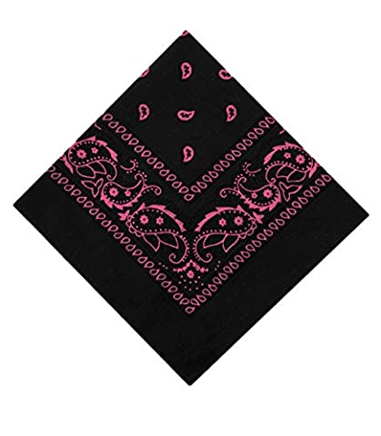 Cachemire Bandanas by Lizzy - Femmes, Noir & Rose, Taille