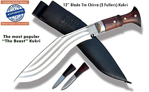 Echtes Gurkha Kukri Messer - 30.50cm Messer 3 Chhira (3 volleren) Kukri - Semi-poliertem Stahl, dunklen Palisander voller Zapfen, schwarzer Lederscheide. Gesamtlänge 47cm mit Griff. handgemachten in Nepal von GK&CO. Kukri Haus -