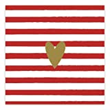 Servietten gestreift mit goldenem Herz - rot/gold (20 Stück) für Weihnachten, die Adventszeit und Feste