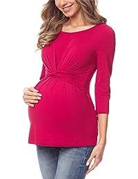 Be Mammy Premamá Camiseta Manga 3/4 Maternidad Embarazo Lactancia Ropa Verano Mujer BE20-214