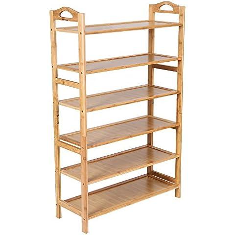 Songmics Zapatero con 6 estantes Organizador para libros, flores, para zapatos De bambú 108 x 67,5 x 25,8 cm LBS96N