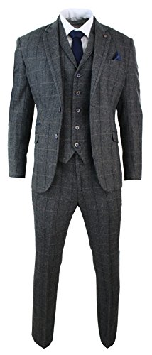 Mens-3-Piece-Classic-Tweed-Herringbone-Check-Grey-Navy-Slim-Fit-Vintage-Suit