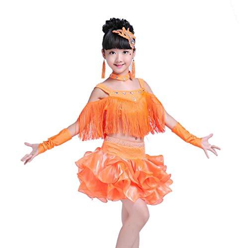 SMACB Lateinische Tanzkostüme der Kinder Lateinische Tanzröcke der Frauen Wettbewerbsleistungs-Kleid Fransenrock,Orange,140CM