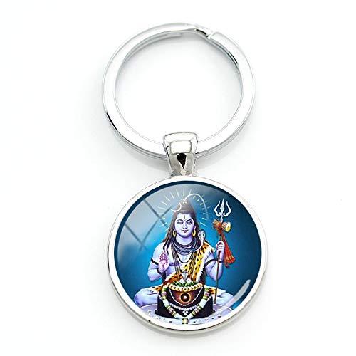 CLEARNICE Schlüsselbund Lord Shiva Schlüsselanhänger Mode Religiöse Schlüsselanhänger Für Tasche Auto Schlüssel Runde Frauen Männer Hinduismus Liebhaber Geschenk Schmuck Ls33