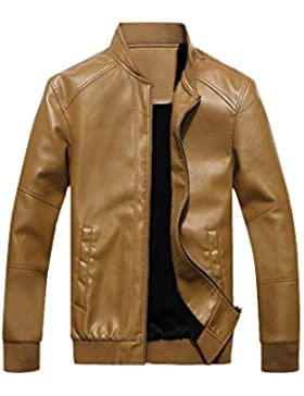 jkqa Hombres de invierno Slim fit cuello alto chaqueta de piel sintética