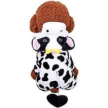 Fulltime(TM)-Lindo Mascota Ropa de Perro con Capucha de Manga Larga de Vaca (XL, Negro)