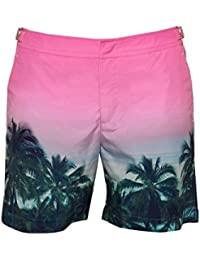 Orlebar Brown Mens Bulldog Palms aplenty Swim Shorts, Pink Swimming Trunks