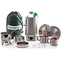 Ultimate 'Base Camp' Kelly Kettle Kit - VALUE DEAL (1.6 ltr Stainless Steel 'Base Camp' Kettle + Cook Set + Hobo Camping Stove + Camp Cups (2pcs) + Plates (2pcs) + Pot Support + Bag + Green Whistle has replaced the Orange Stopper