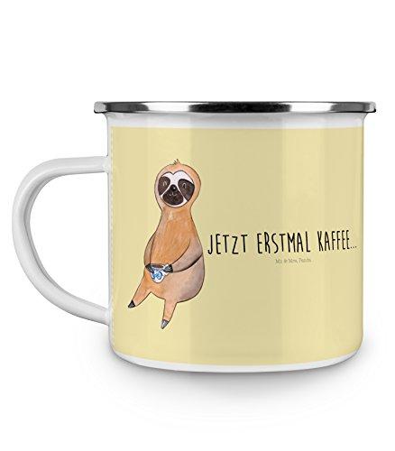 Mr. & Mrs. Panda Emaille Tasse Faultier Kaffee - 100% handmade in Norddeutschland - Faultier, Genießer, Campingbecher, Frühaufsteher, Camping, Morgenmuffel, , Becher, Kaffeetasse, erster Kaffee, faul, Tasse