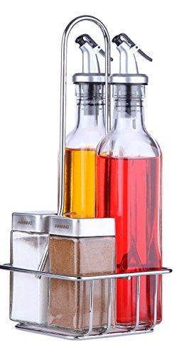 Le Juvo Olio, aceto, Sale e Pepe Olio e aceto Set (Confezione da 5)-2x 255,1Gram, Due 113,4Gram, e Supporto