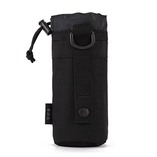 Protector Plus Unisex Adult Taktische Militärwasser-Flaschenhalter Wasserdichte Molle-Kessel Beutel-Fördermaschine für das Kampieren-Wandern Laufen, S1-Black