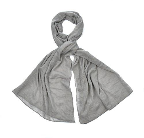 Intermoda XXL Uni Schal unifarben transparent, leichtes Crinkle Tuch, Unisex, grau hellgrau